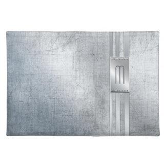Verkratztes Metall Stripes Monogramm blaues ID443 Stofftischset