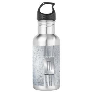 Verkratztes Metall Stripes Monogramm blaues ID443 Trinkflasche