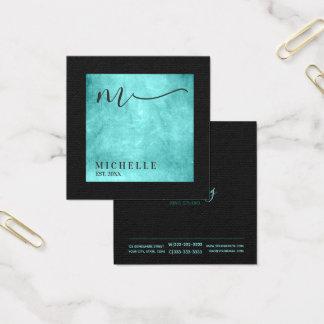 Verkratztes Metallquadrat-Monogramm aquamarines Quadratische Visitenkarte