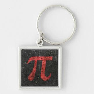 Verkratztes und gealtertes rotes PU-Mathe-Symbol Schlüsselanhänger