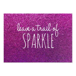 Verlassen Sie eine Spur des Scheins, lila Glitter 12,7 X 17,8 Cm Einladungskarte