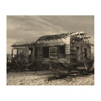 Verlassenes Haus in Kelso Kalifornien Holzleinwand