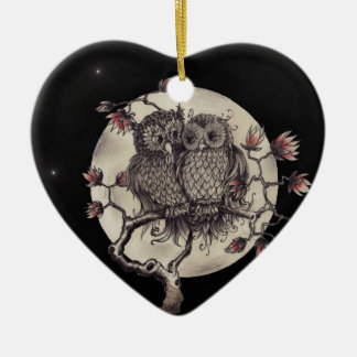 Verliebte Eulen - Owls In Love Keramik Ornament