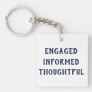 Verlobtes informiertes durchdachtes keychain schlüsselanhänger
