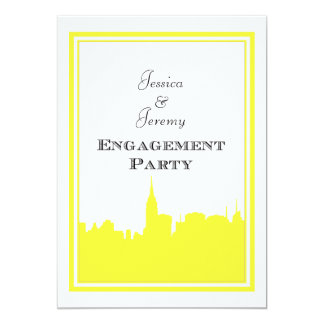 Verlobung der NYC Skyline-Gelb-Silhouette-#2 DIY 12,7 X 17,8 Cm Einladungskarte