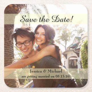 Verlobungs-Foto, das Save the Date Wedding ist Rechteckiger Pappuntersetzer