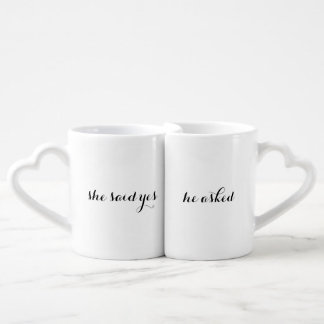 Verlobungs-Mitteilung Coffe Schalen-Set Liebestassen