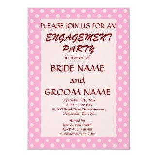 Verlobungs-Partei-Rosa-Polka-Punkte, rosa 11,4 X 15,9 Cm Einladungskarte