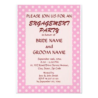 Verlobungs-Partei-Rosa-Polka-Punkte, rosa 16,5 X 22,2 Cm Einladungskarte