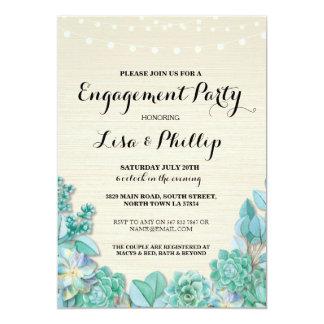 Verlobungs-Party-laden rustikale DuscheSucculents 12,7 X 17,8 Cm Einladungskarte