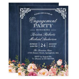 Verlobungs-Party-Rosa-blaue mit Blumentafel 12,7 X 17,8 Cm Einladungskarte