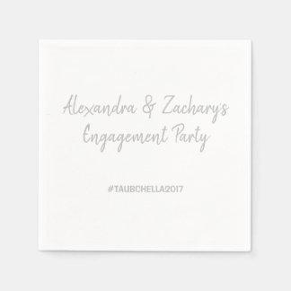 Verlobungs-Party-Servietten mit Hashtag Silber Papierserviette