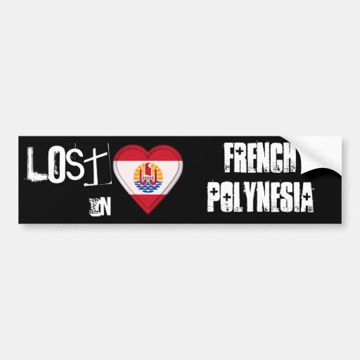 Verloren im Französisch-Polynesien-Flaggen-Herzen Auto Sticker