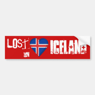 Verloren im Island-Flaggen-Herzen Autoaufkleber