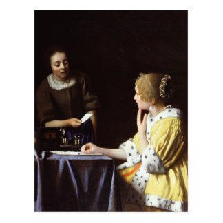 Vermeer - Geliebte und Mädchen 1666-67 Postkarte