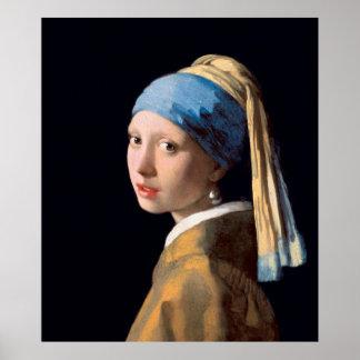 VERMEER - Mädchen mit einem Perlenohrring 1665 Poster