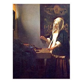 Vermeer Packwagen Delft, Jan. die Perlenw? gerin Postkarte