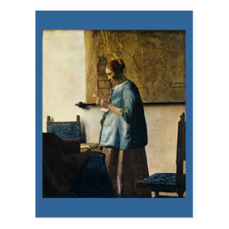 Vermeers Frau im Blau einen Brief ca.1665 lesend Postkarte