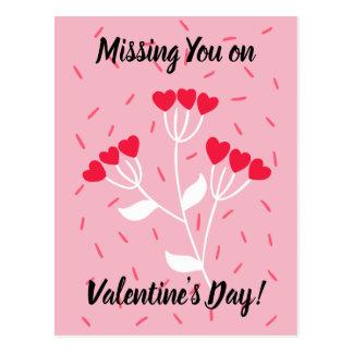 Vermisst Sie auf Herz-Blumenstrauß des Valentines Postkarte