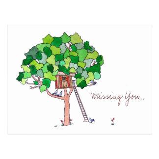 Vermisst Sie, Baum-Haus Postkarte