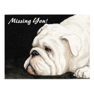 """""""Vermisst Sie"""" englische Bulldoggen-Postkarte Postkarte"""