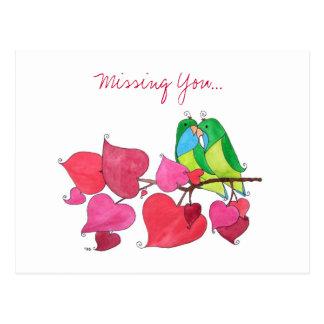 Vermisst Sie, Liebe-Vögel Postkarte