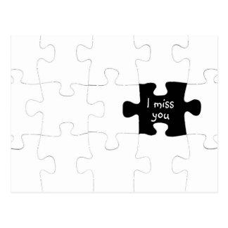 Vermisst Sie Puzzlespiel-Stück-Postkarte Postkarte