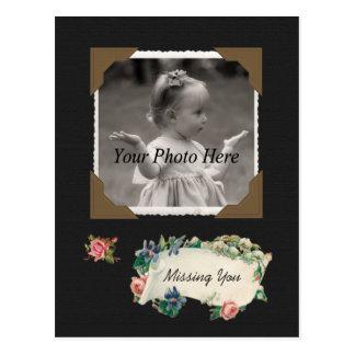 Vermisst Sie Vintages Foto-Einklebebuch Postkarte