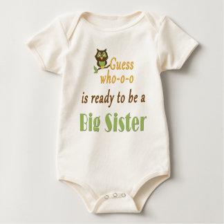 Vermutung, das große Schwester-Eule vorbereiten Baby Strampler
