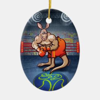 Verpacken-Känguru Ovales Keramik Ornament