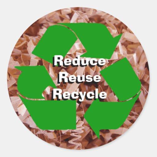 Verringern Sie, verwenden Sie wieder, recyceln Sie Runder Aufkleber