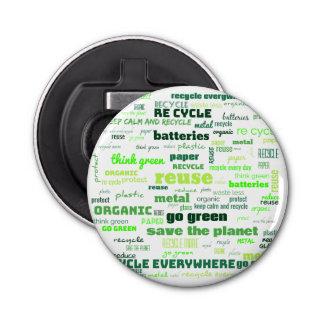 Verringern Sie, verwenden Sie wieder, recyceln Sie Flaschenöffner