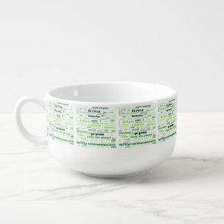 Verringern Sie, verwenden Sie wieder, recyceln Sie Große Suppentasse