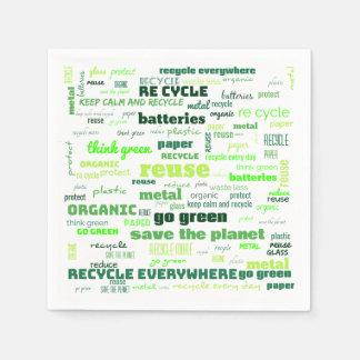 Verringern Sie, verwenden Sie wieder, recyceln Sie Serviette