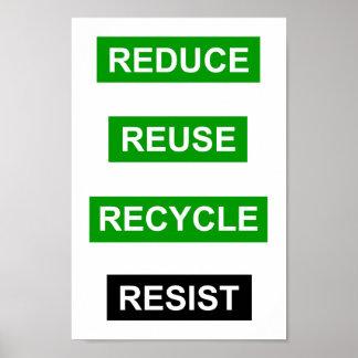 Verringern Sie Wiederverwendung recyceln Poster