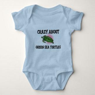 Verrückt über grüne Meeresschildkröten Baby Strampler