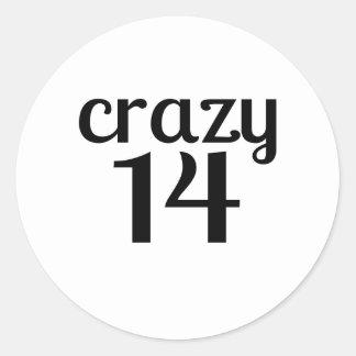 Verrückte 14 Geburtstags-Entwürfe Runder Aufkleber