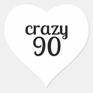 Verrückte 90 Geburtstags-Entwürfe Herz-Aufkleber