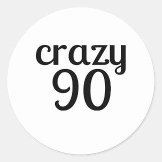 Verrückte 90 Geburtstags-Entwürfe Runder Aufkleber