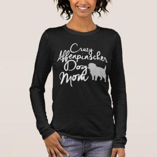 Verrückte Affenpinscher-Hundemamma Langarm T-Shirt