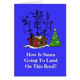 Verrückte Antennen-Haus-Weihnachtskarte Karte
