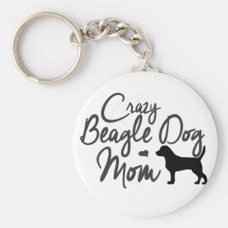 Verrückte Beagle-Hundemamma Schlüsselanhänger
