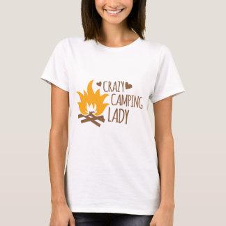Verrückte Campings-Dame T-Shirt