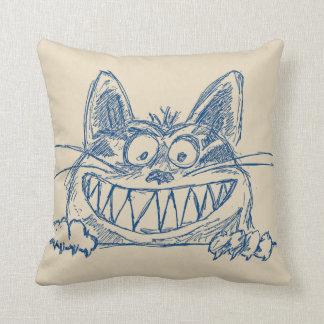 Verrückte coole Katze im Blau Kissen