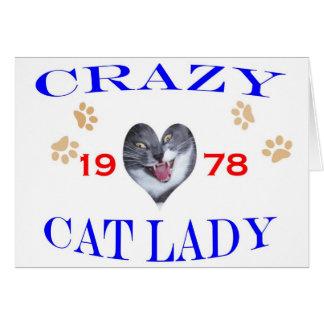 Verrückte Dame der Katzen-1978 Karte