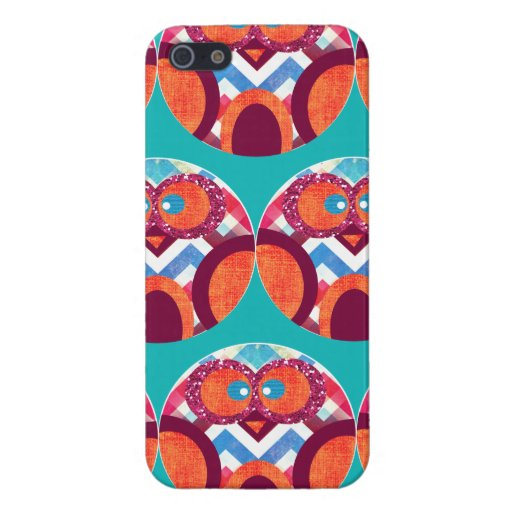 Verrückte Eulen-buntes Zickzack lila orange rosa B iPhone 5 Schutzhülle