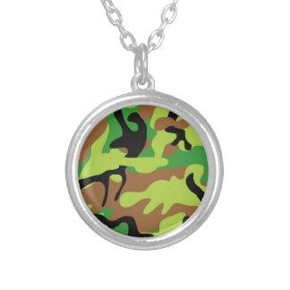 Verrückte Forrest grüne Camouflage Versilberte Kette