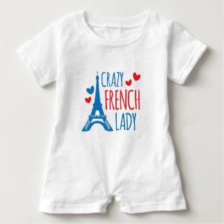 verrückte französische Dame Baby Strampler