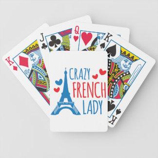 verrückte französische Dame Bicycle Spielkarten