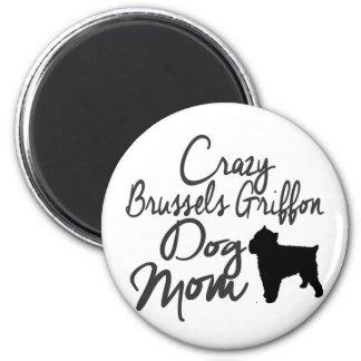 Verrückte Hundemamma Brüssels Griffon Runder Magnet 5,7 Cm